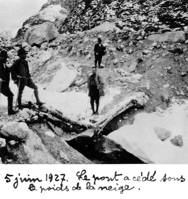 5 juin 1927. Le pont a cédé sous le poids de la neige
