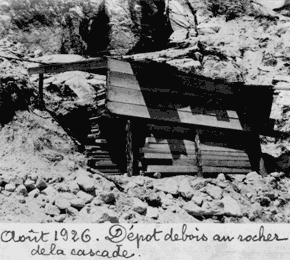 Août 1926. Dépôt de bois au rocher de la cascade
